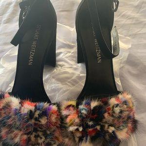 Pair of Stuart Weitzman mink shoes